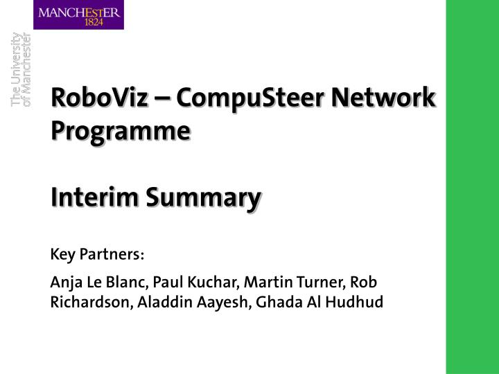 RoboViz – CompuSteer Network Programme