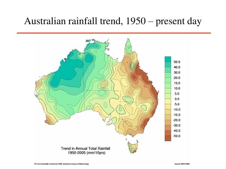 Australian rainfall trend, 1950 – present day