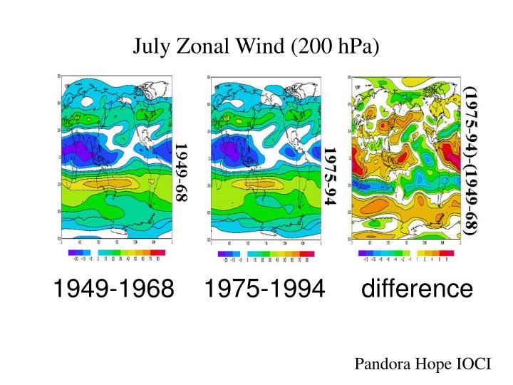 July Zonal Wind (200 hPa)
