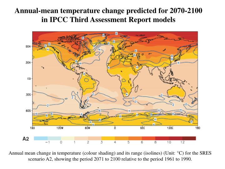 Annual-mean temperature change predicted for 2070-2100