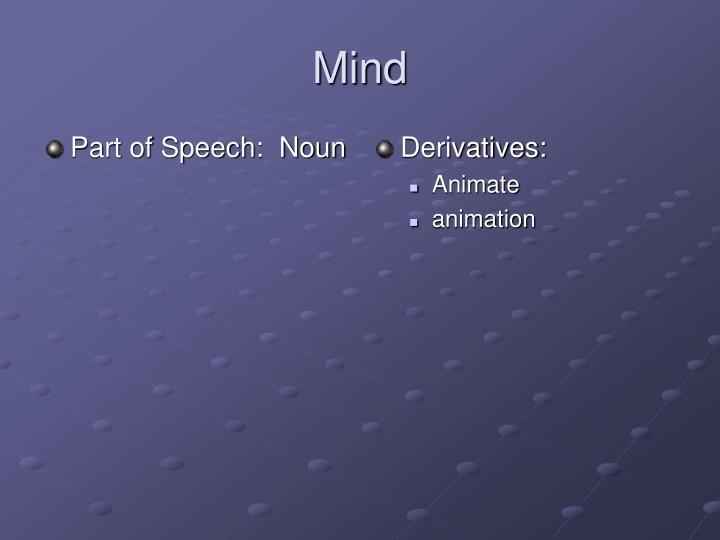 Part of Speech:  Noun
