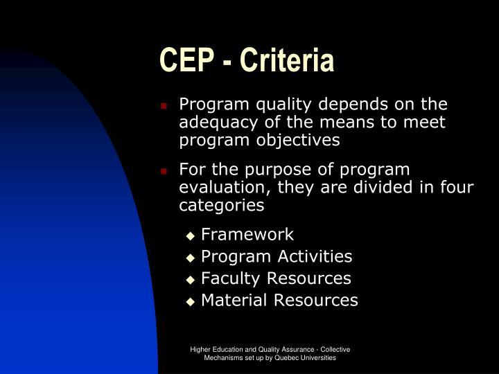 CEP - Criteria