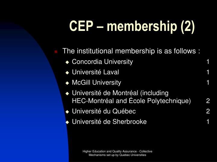 CEP – membership (2)