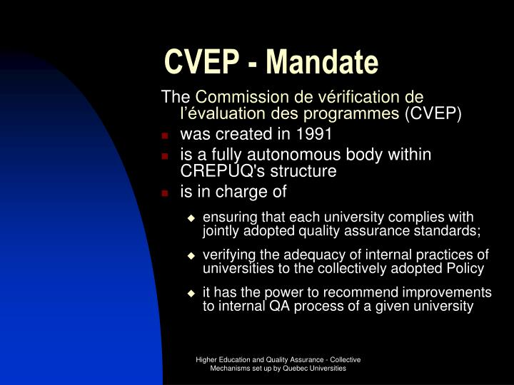 CVEP - Mandate