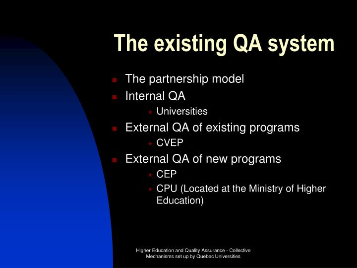 The existing QA system