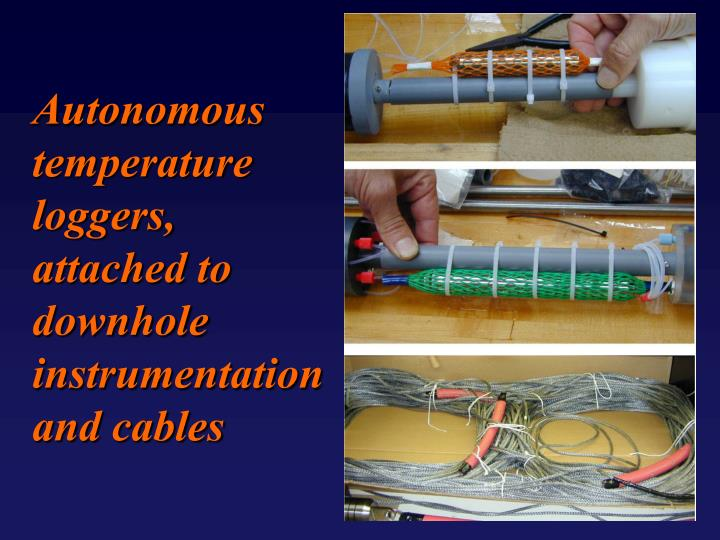 Autonomous temperature loggers, attached to downhole instrumentation and cables