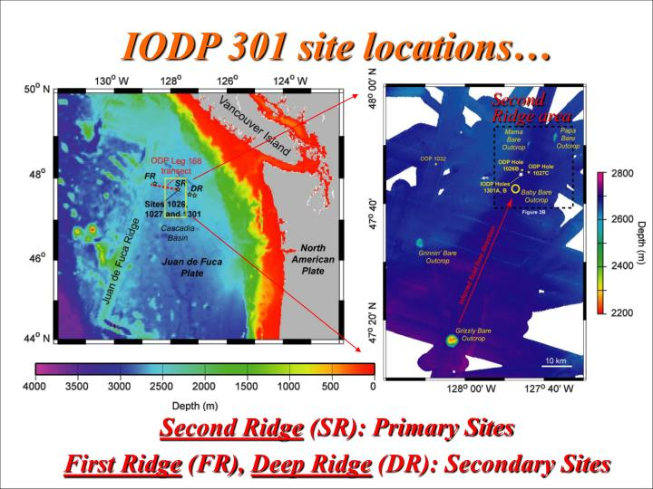 IODP 301 site locations…