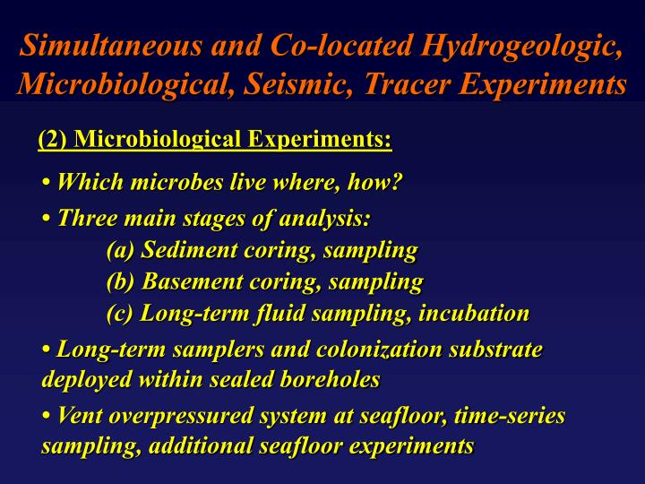 Simultaneous and Co-located Hydrogeologic, Microbiological, Seismic, Tracer Experiments