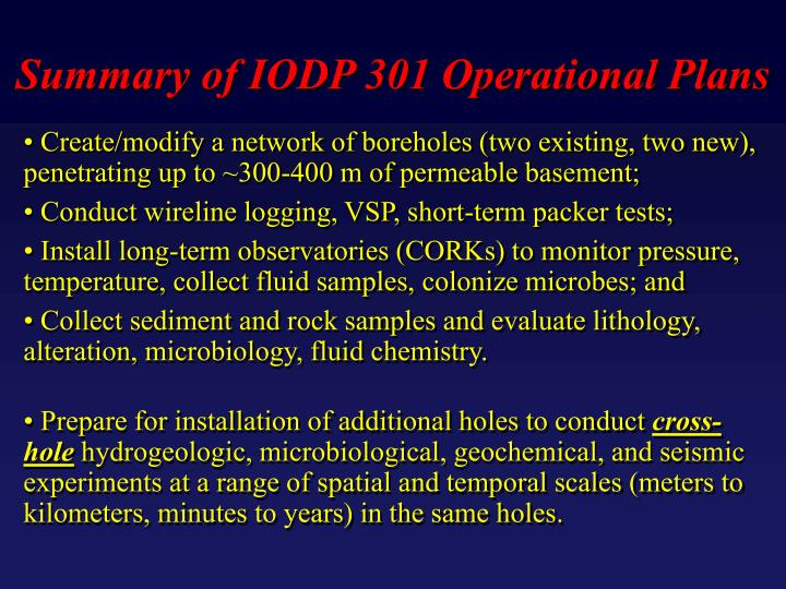 Summary of IODP 301 Operational Plans