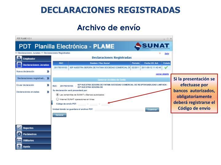 DECLARACIONES REGISTRADAS