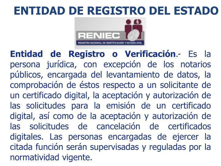 ENTIDAD DE REGISTRO del estado