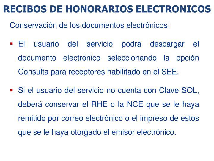 RECIBOS DE HONORARIOS ELECTRONICOS