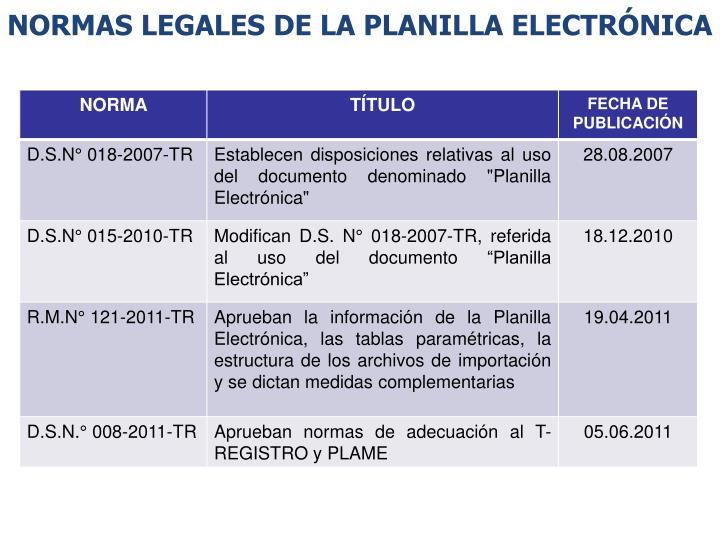NORMAS LEGALES DE LA PLANILLA ELECTRÓNICA
