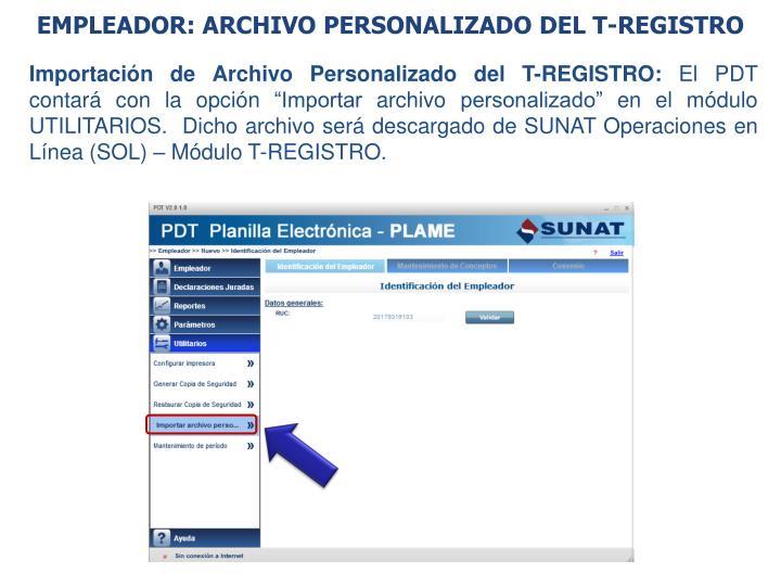 EMPLEADOR: ARCHIVO PERSONALIZADO DEL T-REGISTRO