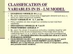 classification of variables in is lm model