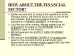 how about the financial sector
