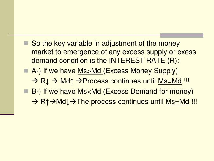 So the key variable in adjustment of the money market to emergence of any excess supply or exess demand condition is the INTEREST RATE (R):