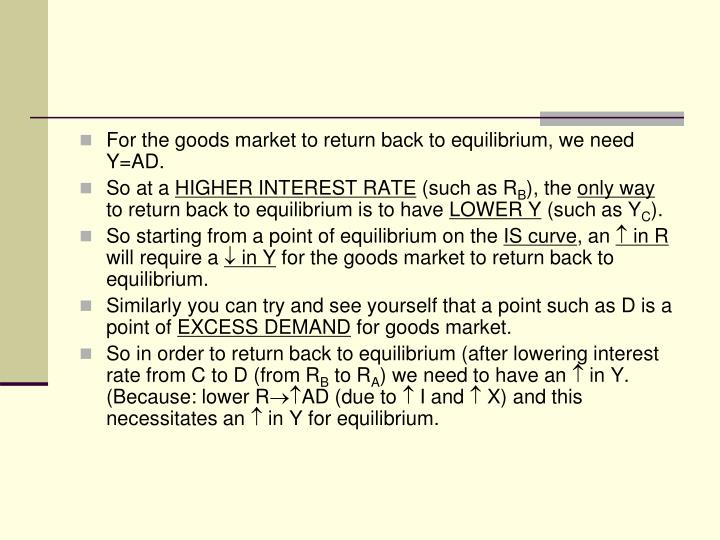 For the goods market to return back to equilibrium, we need Y=AD.