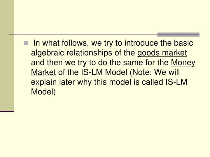 In what follows, we try to introduce the basic algebraic relationships of the