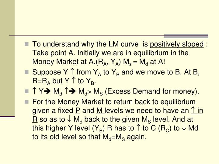 To understand why the LM curve  is