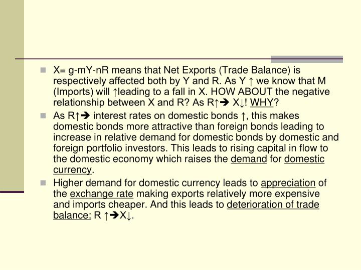 X= g-mY-nR means that Net Exports (Trade Balance) is respectively affected both by Y and R. As Y ↑ we know that M (Imports) will ↑leading to a fall in X. HOW ABOUT the negative relationship between X and R? As R↑