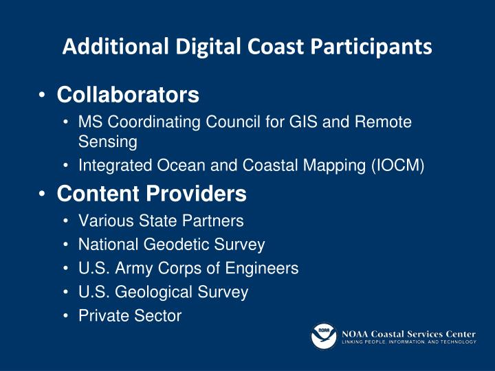 Additional Digital Coast Participants