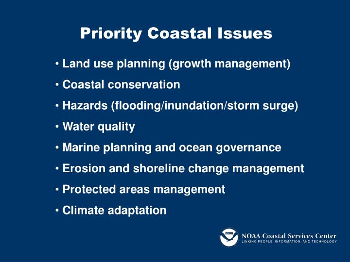 Priority coastal issues