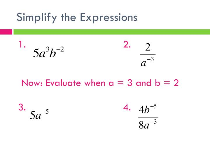 Simplify the Expressions