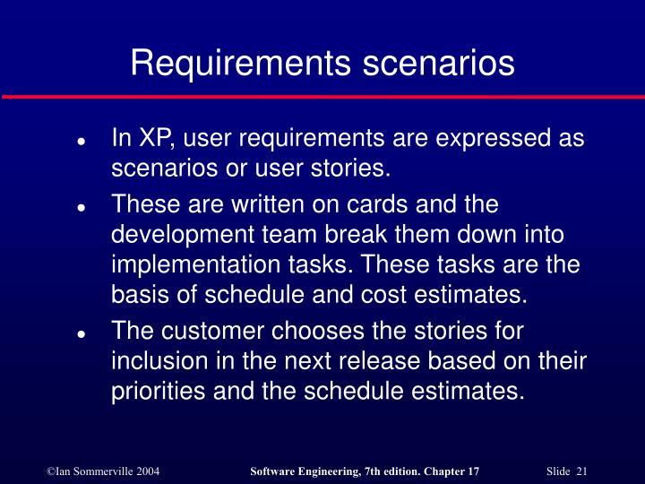 Requirements scenarios