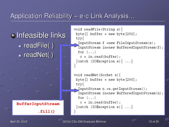 Application Reliability – e-c Link Analysis…