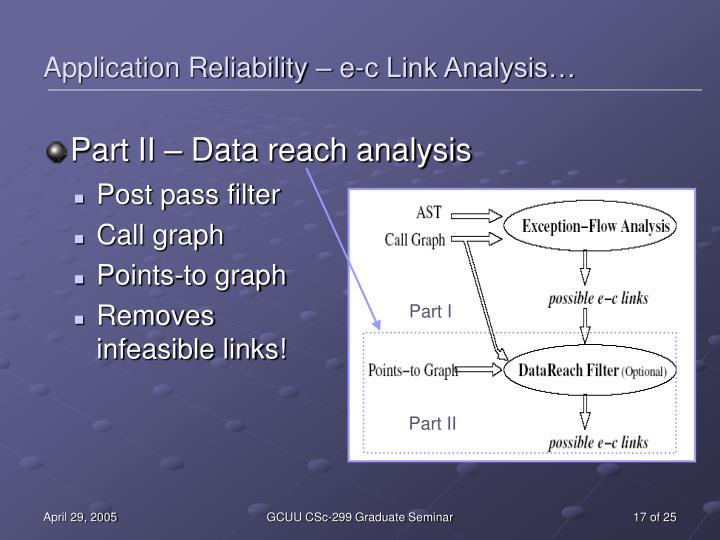 Application Reliability – e-c Link Analysis…
