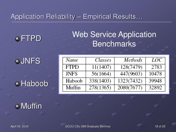 Web Service Application Benchmarks