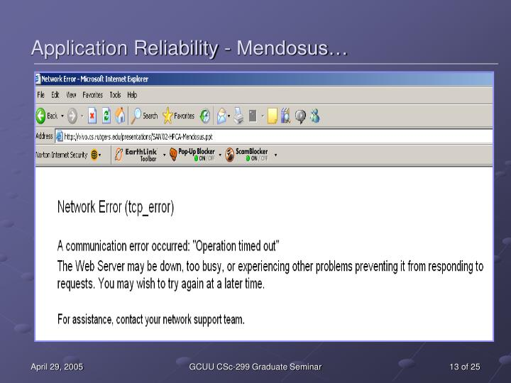 Application Reliability - Mendosus…
