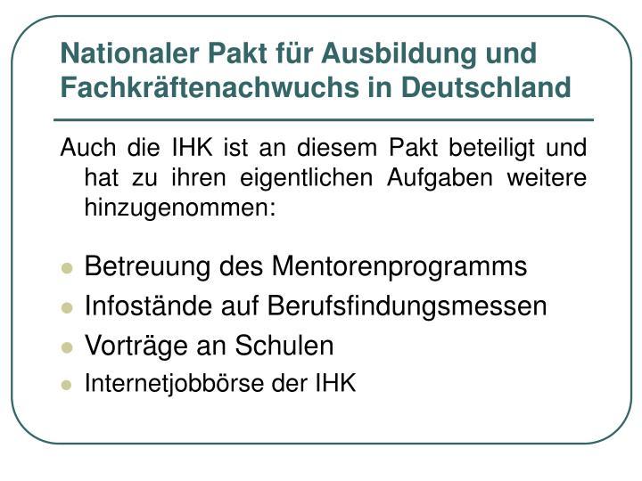Nationaler Pakt für Ausbildung und Fachkräftenachwuchs in Deutschland