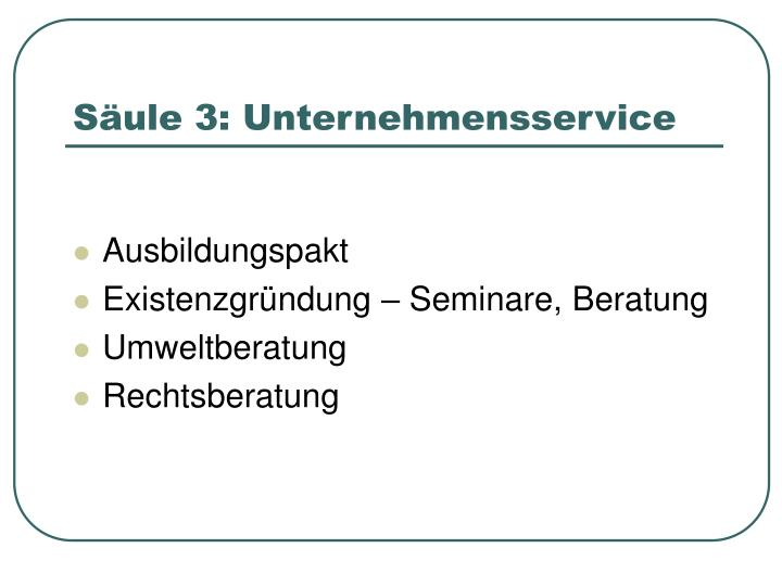 Säule 3: Unternehmensservice