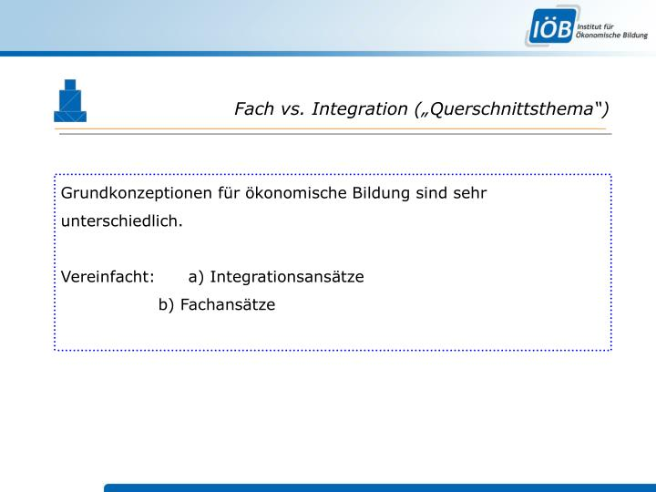 "Fach vs. Integration (""Querschnittsthema"")"