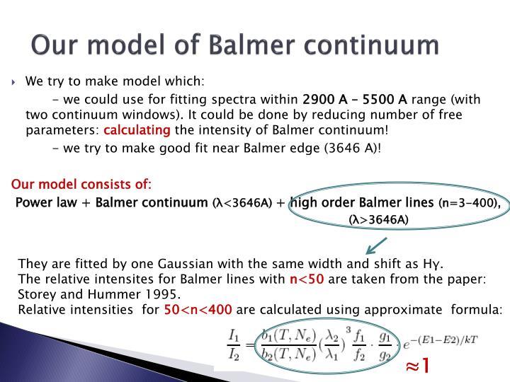 Our model of Balmer continuum