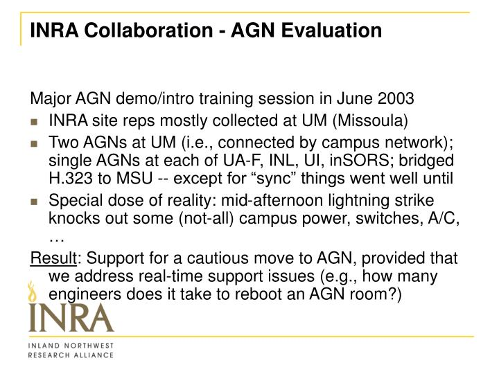 INRA Collaboration - AGN Evaluation