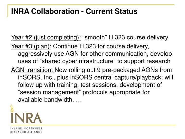 INRA Collaboration - Current Status