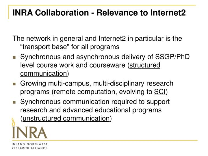Inra collaboration relevance to internet2
