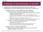 influences of the earthquake on the npp