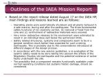 outlines of the iaea mission report