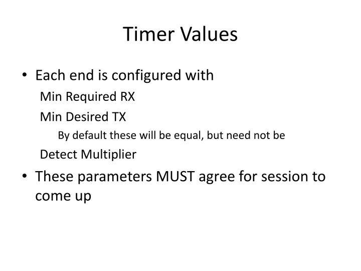 Timer Values