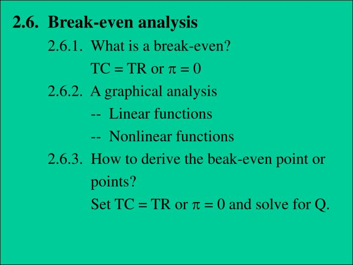 2.6.  Break-even analysis