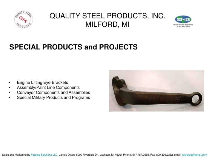 QUALITY STEEL PRODUCTS, INC.