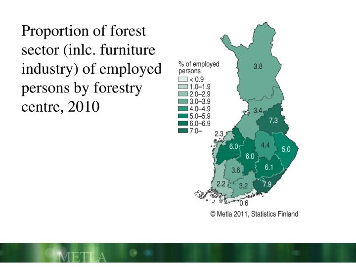 Proportion of forest sector (inlc. furniture industry) of employed persons by forestry centre, 2010