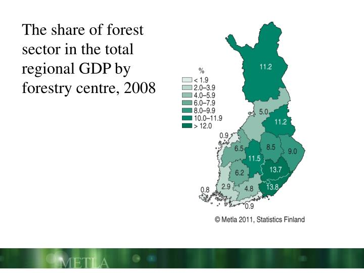 The share of forest sector in the total regional GDP