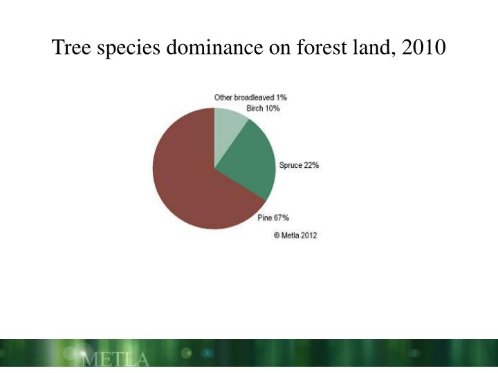 Tree species dominance on forest land, 2010
