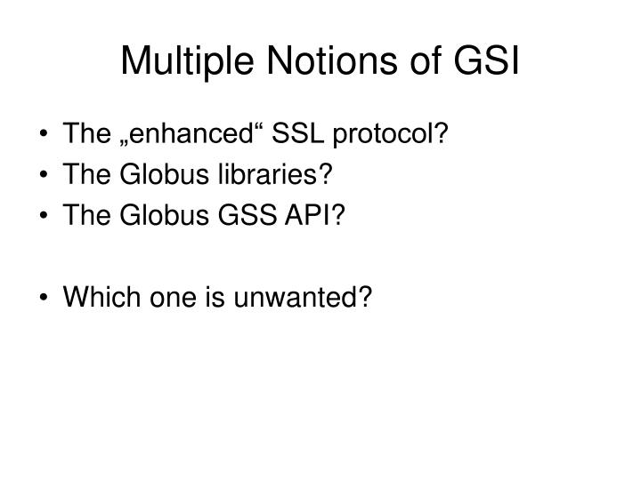 Multiple Notions of GSI