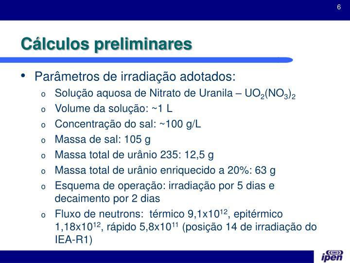 Cálculos preliminares